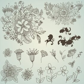 Vector line drawing flower pattern