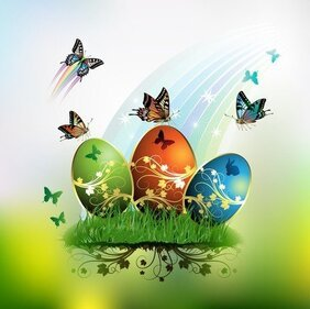 Butterflies And Decorated Easter Egg Cards 01