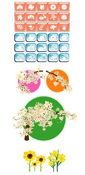 Korean Style Flower vector icon theme
