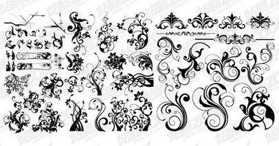 A variety of practical fashion black and white pattern vecto