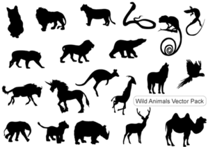 Silhouettes d'animaux sauvages gratuitement Vector Pack