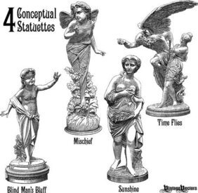 4 Statuette Vectors Portraying 4 Concepts