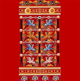 Classical Chinese crane with auspicious patterns vector mate