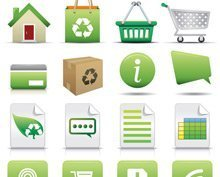 Shopping online Icon Set naturale concetto