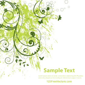Vector Abstract Grunge Floral Background