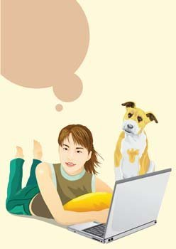 Girls and computer vector 34