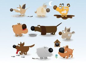 Grappige hond Cartoon vectorillustraties (gratis)