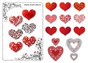 A variety of heart-shaped pattern