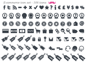 Gratis E-Commerce pictogram Set Vector (106 minimale pictogrammen)