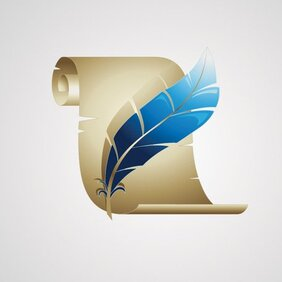 Old Paper With Feather Vector Icon (Free)