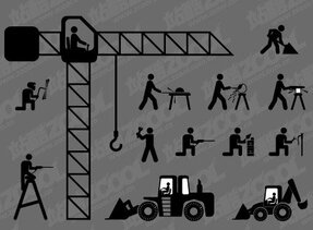Construction workers vector material version of Matchstick M