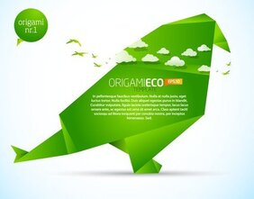 Green Origami Animals 02