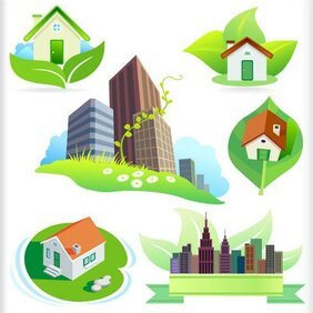 New bio green house and City icons