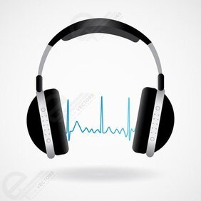 Headphones and Sound Wave. Free vector download