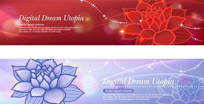 Glowing Banner Template with Red & Blue Lotus