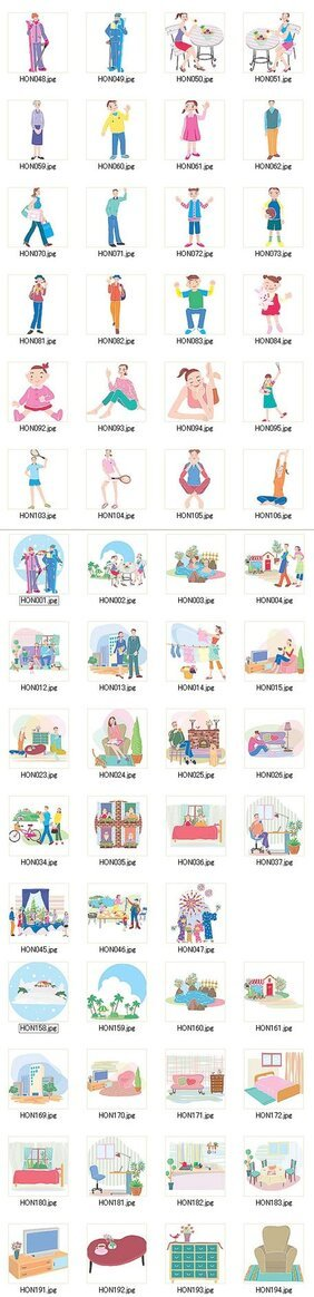 Home and school life cartoon characters