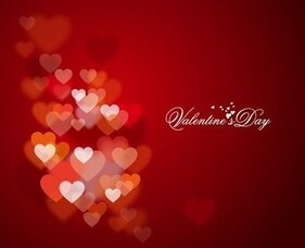 Happy Valentine's Day with Lights and Hearts in Background