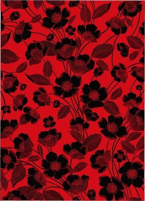 Flowers red and black lines, the background