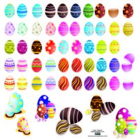 Decorated Colorful Easter Egg Set