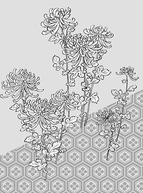 Japanese line drawing of plant material -39 Vector flowers (