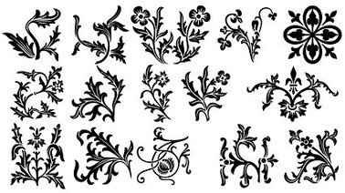 Various types of exquisite European lace pattern vector mate