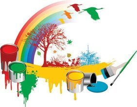 Paint Rainbow Tree Vector material Dayan