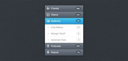 Vertical Navigation Menu (PSD)