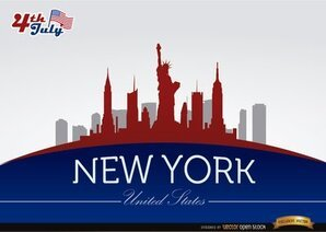New York skyline on July 4th commemoration