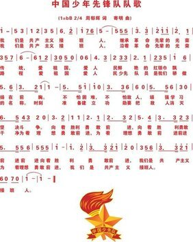 Chinese Young Pioneers Team Song Lyrics Vector Notation
