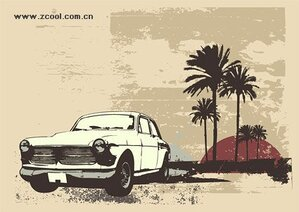 Retro-style cars coconut tree