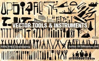 Free Vector Tools, Instruments, Equipment Silhouettes