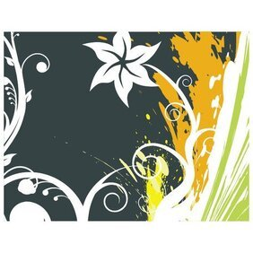 FREE VECTOR GRUNGE WITH FLORAL DESIGN.eps