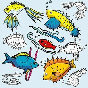 All kinds of cartoon fish
