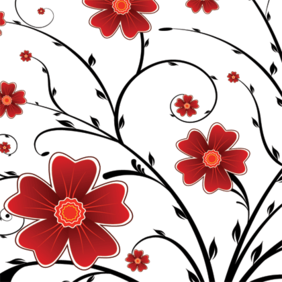 Red Flower Floral Background
