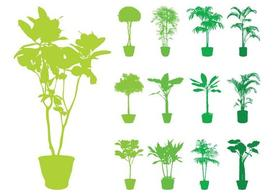 Potted Plants Silhouettes Set