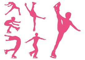 Figure Skaters Silhouettes Set
