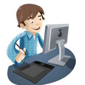 Boy Working With Computer