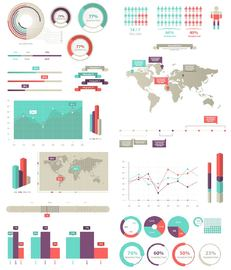 30 Plus Info Graphic Set with Maps and Statistics