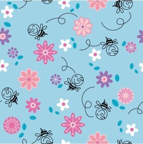 Cute bee flower background vector continuous material