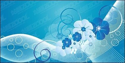 Blue flowers, vector lines and movement of the material