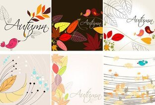 Autumn leaves background vector-1