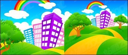 City on green hill rainbow