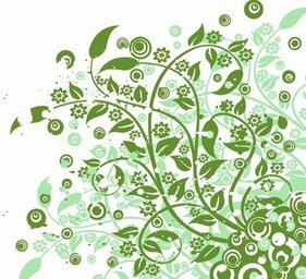Abstract Green Floral Vector Graphic Art