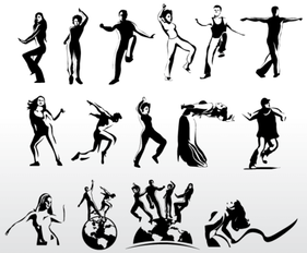 Aerobic Art Dancer Vector Silhouettes Collection