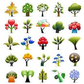 Beautiful Seasonal Tree Icon Collection