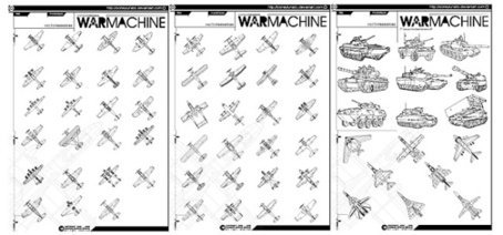 Vector line drawing fighter planes and tanks, material