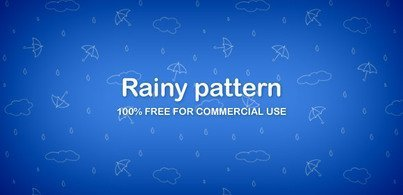 Umbrellas and clouds pattern (PNG)