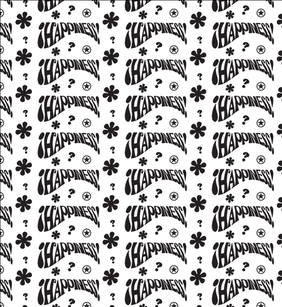 Happy Hippie Black And White Seamless Pattern