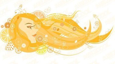 Vector girl hair flowing material