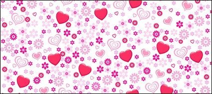 Lovely heart-shaped flowers vector background material